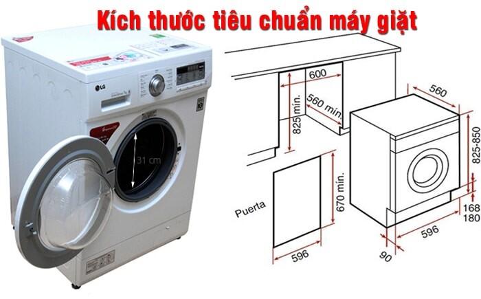 Kích thước máy giặt được ưu dùng